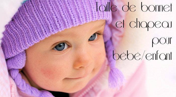 Taille bonnet et chapeau bébé